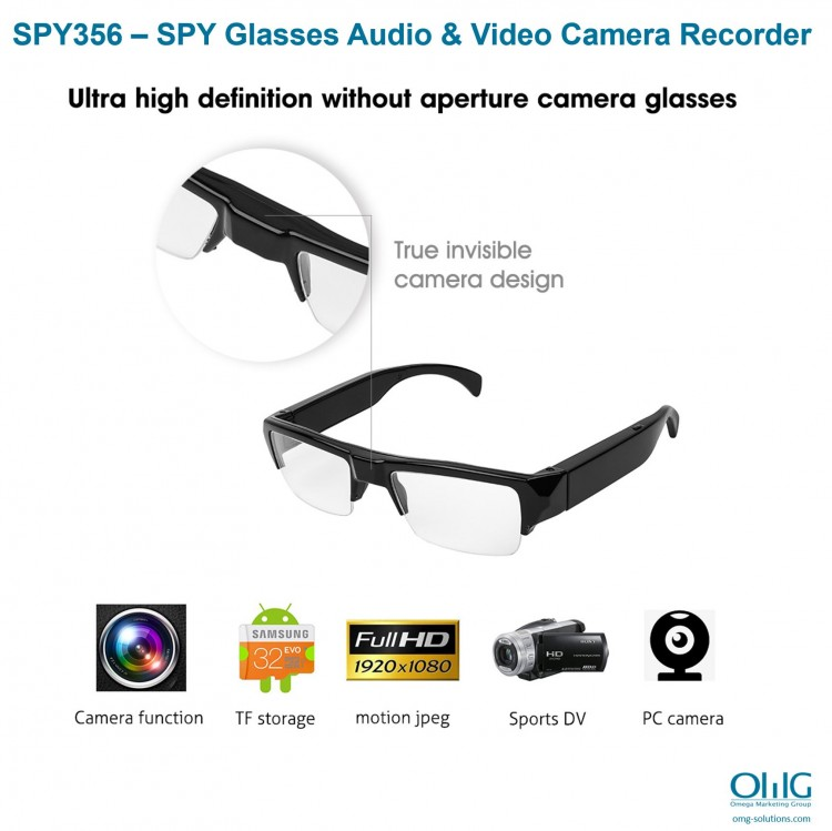 SPY356 – SPY Glasses Audio & Video Camera Recorder