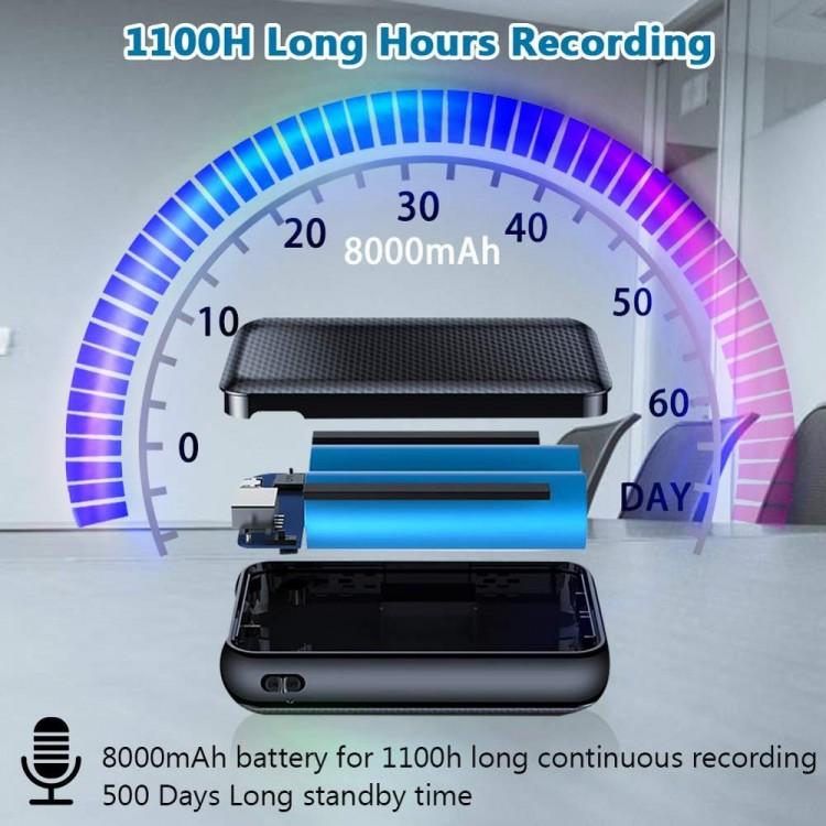 एसपीवायव्ही032 - ओएमजी पॉवरबँक व्हॉईस रेकॉर्डर, 1100 तास - लाँग हर्स रेकॉर्डिंग