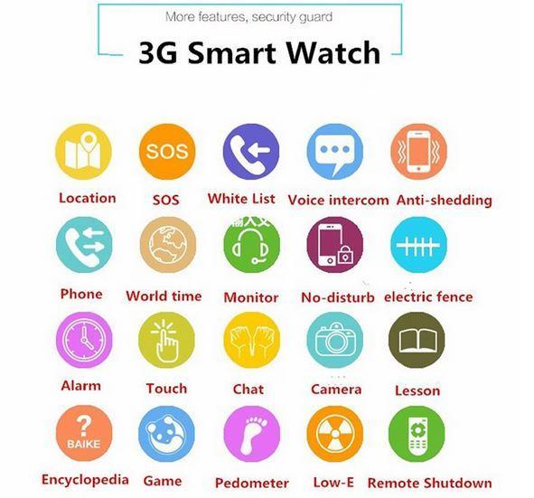 Waterproof 2.0MP Camera Child 3G GPS Tracker Watch LBS +GPS+AGPS+WIFI Positioning Smart Kids Watch