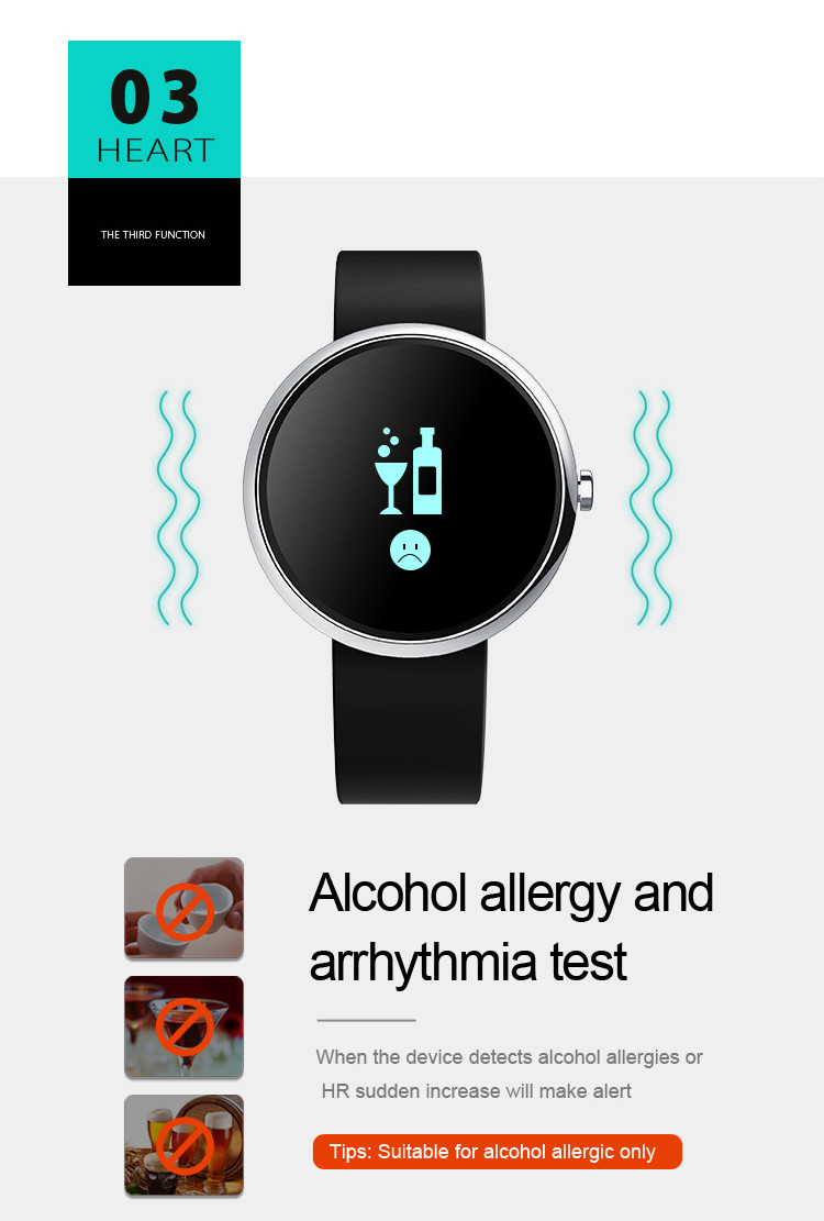 Health Wrist Watch [OMGHW02] - Alcohol Allergy and Arrhythmia Test