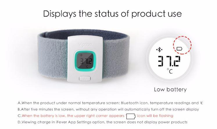 iFever - Intelligent Thermometer - Displays the status of the product use
