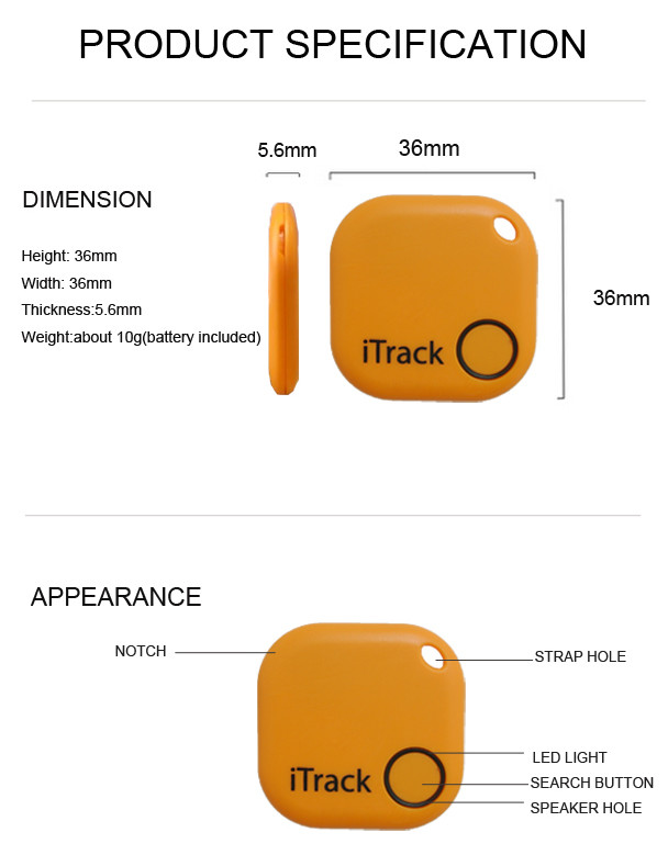 iTrack - Wallet Fitted Pets Elderly Kids Bluetooth Anti Lost Tracker Alarm Alert - Product Description