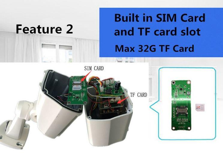 3G Sim Card Security Camera with Waterproof Night Vision - Features 02 - Buildin Sim card & TF Card Slot