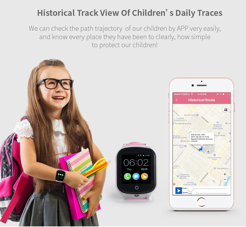 GPS20W - GPS Watch For Kids and Elderly - Historical Tracking View of Children's Daily Traces