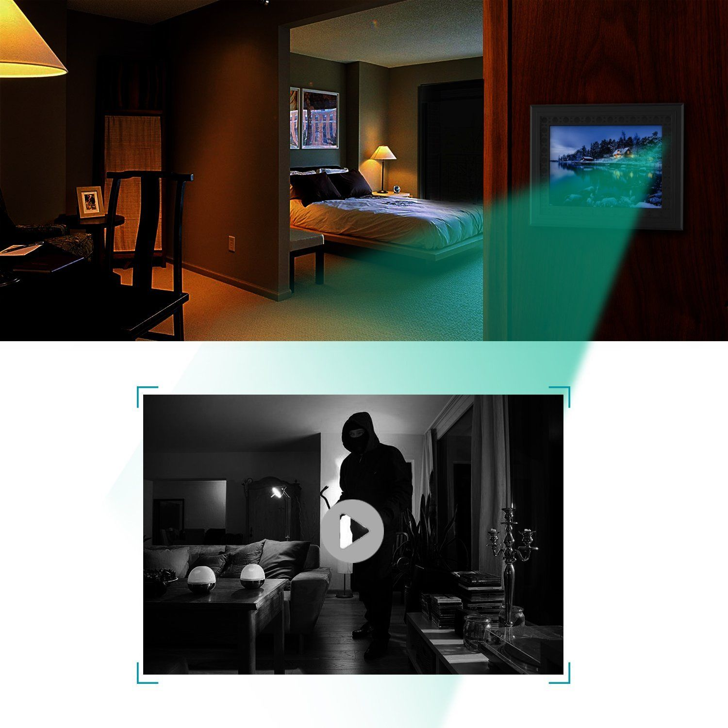 HD 720P Photo Frame Hidden Spy Camera - Night Vision