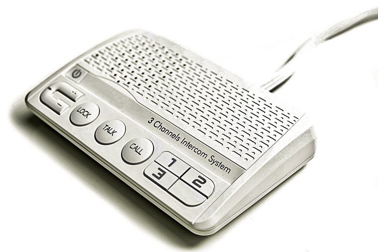3 Channels HOME Power-line Intercom System, 3 Wire, White, Two Stations Set - 3