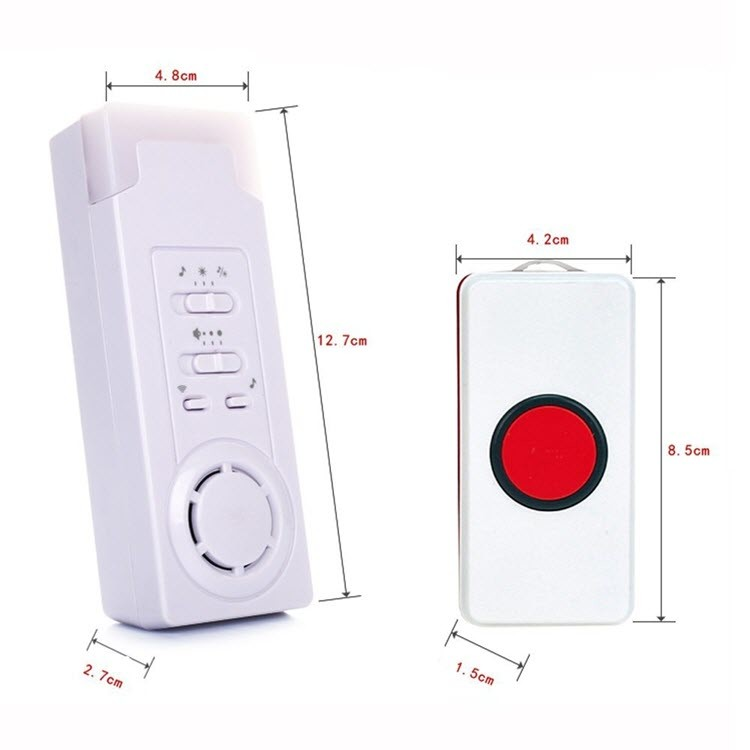 Wireless Emergency Care Alarm Call Alert System Button -500 + ft Operating Range (2 in 1) - 2