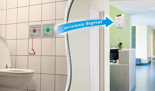 Handicap / Elderly Wireless Toilet Emergency Alarm - Call Button & Light System (EA010)