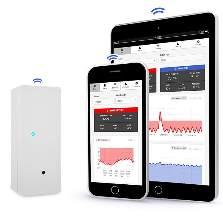 Wireless Temperature Sensor + 24/7 Monitoring, Alerts & Unlimited Historical Data. Connects Directly to WiFi. Free iPhone and Android App, Check-In From Anywhere! (EA016)