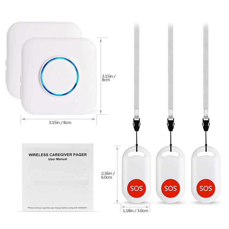 Wireless IP55 Waterproof SOS Call Button con Pagador de coidadores - 7