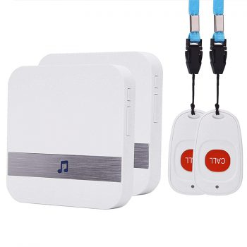 EA039 - OMG Wireless Emergency Panic Call Button with Wearable Button for Home/Personal (2 call buttons + 2 receivers)
