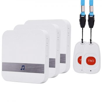 EA038 - OMG Wireless Emergency Panic Call Button with Wearable Button for Home/Personal (2 call buttons + 3 receivers)