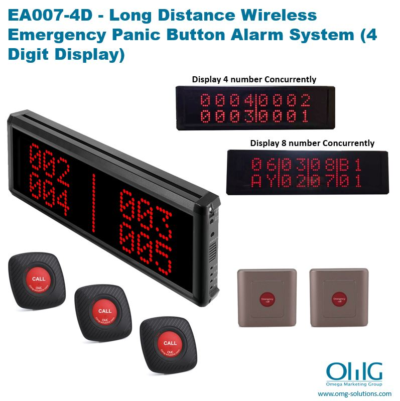 EA007-4D - OMG Long Distans Wireless Panik Ijans Bouton Sistèm Alam Pou Lopital (4 Digit Display)