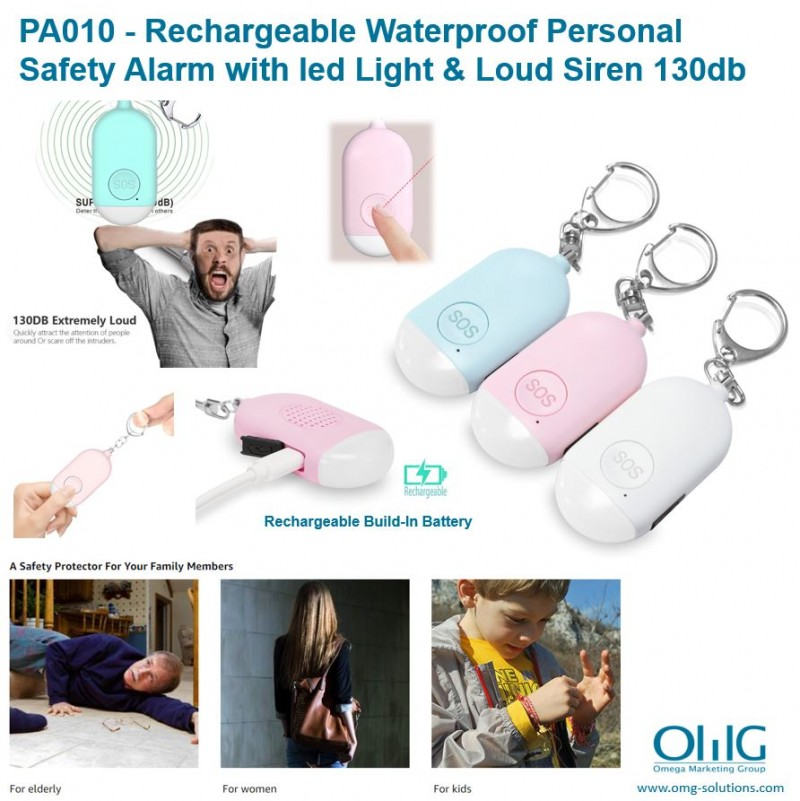 PA010 - OMG Waterproof Rechargeable Personal Safety Alarm with led Light & Loud Siren 130db