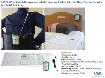 EA079-SETS - Recordable Voice Alarm Fall Prevention Bed Pad Set - Fall Alarm That Works With Bed Pad & Pull-String