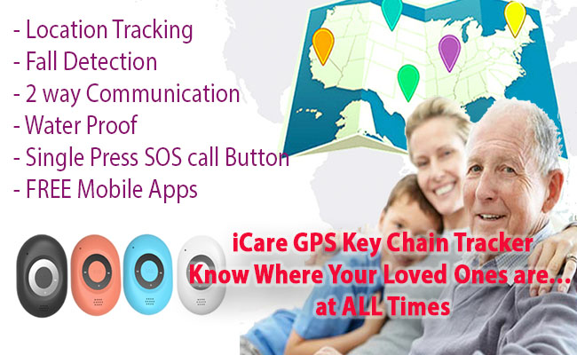 OMG iHelp 3G / 4G GPS Tracking Keychain, Waterproof, Motionless & fall Detection (Manula sareng Dementia) [GPS40D]
