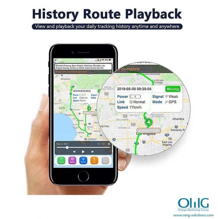 GPS051 - Portable GPS SPY Vehicle - Car Magnetic Tracker - Historical Route Tracking (OMG-Solutions)