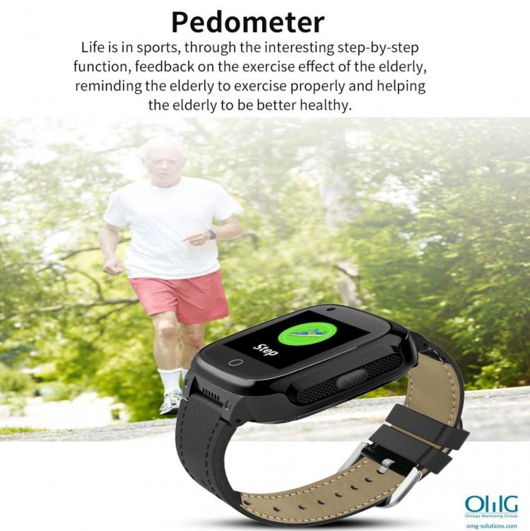 GPS052W - GPS Monitor ສຸຂະພາບຜູ້ສູງອາຍຸ - ເບິ່ງ Pedometer