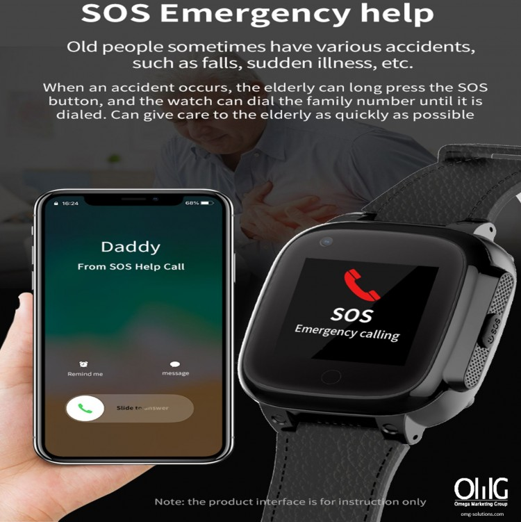 GPS052W - Elderly Health Monitoring GPS Watch - Watch SOS Function