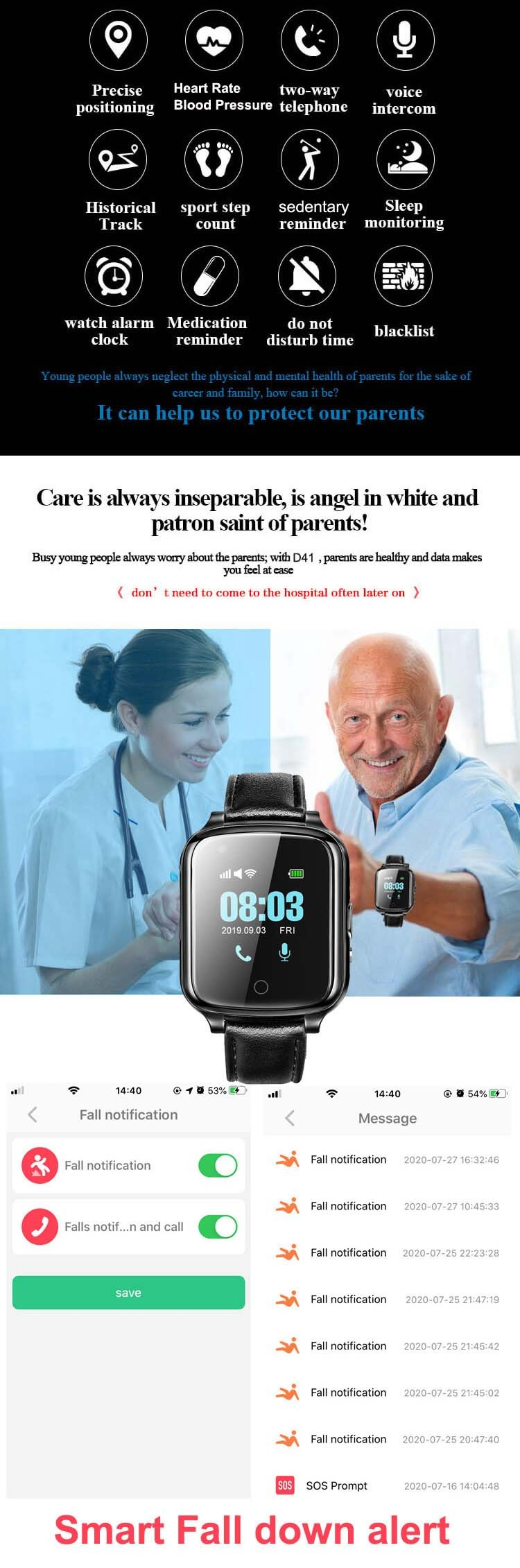 GPS057W – OMG Elderly Health Monitoring GPS Tracker Watch with Blood Pressure Heart Rate Monitoring, Fall Detection, Medication Reminder - All Features