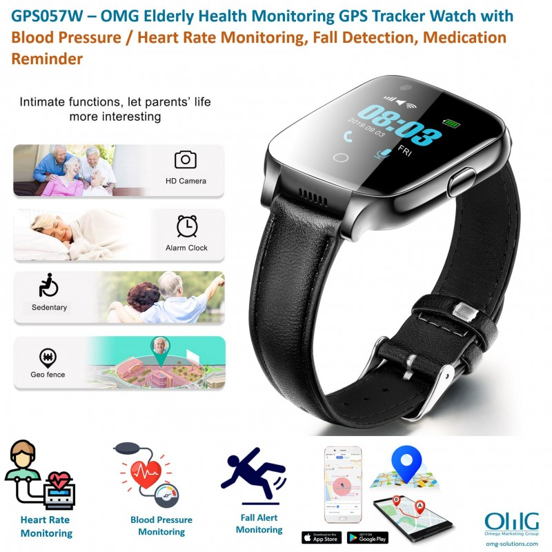 GPS057W – OMG Elderly Health Monitoring GPS Tracker Watch with Blood Pressure - Heart Rate Monitoring, Fall Detection, Medication Reminder