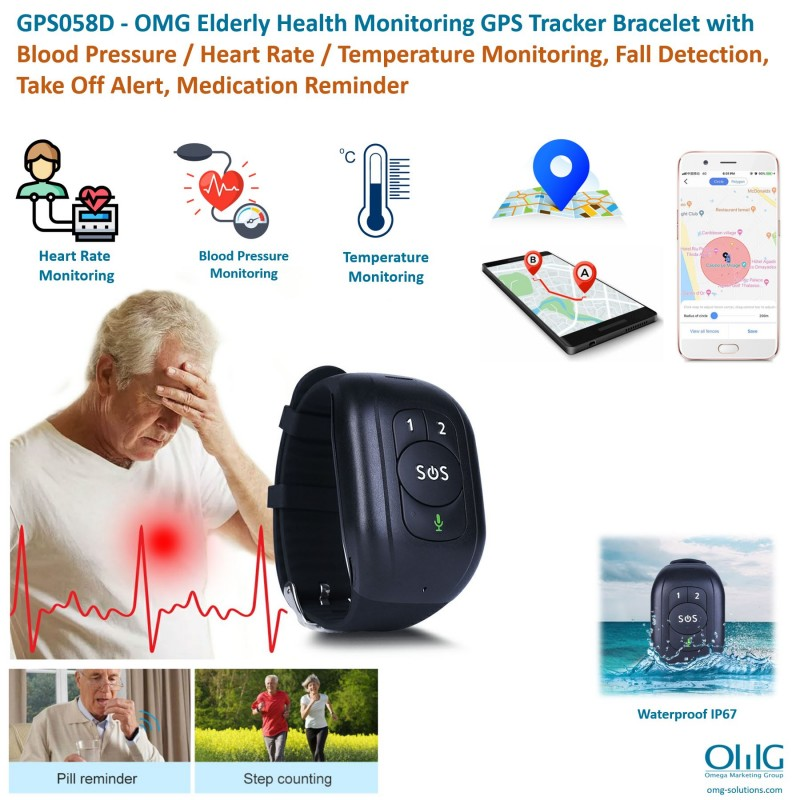 GPS058D - OMG Elderly Health Monitoring GPS Tracker Bracelet with Blood Pressure / Heart Rate / Temperature Monitoring, Fall Detection, Take Off Alert, Medication Reminder