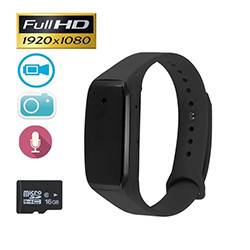 Sports Wearable Bracelet Portable Hidden Camera - 1080P HD, Battery: 350mAh, SDcard 32GB Max (SPY021)
