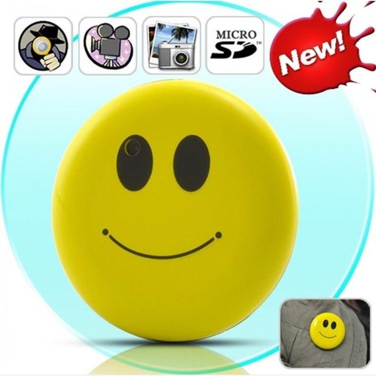 Yellow Color Smile Face Badge Hidden Camera - 1