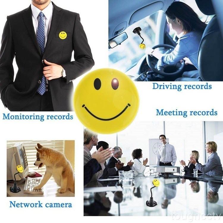 Yellow Color Smile Face Badge Hidden Camera - 2