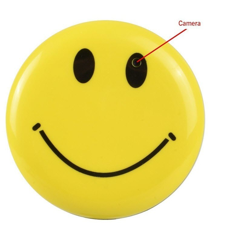 Yellow Color Smile Face Badge Hidden Camera - 3