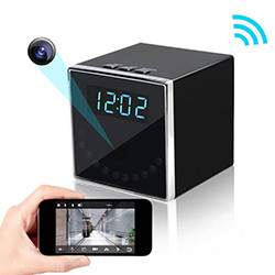 HD 1080P Clock Hidden Camera [Cube WiFi] - 1080P HD, Vista nocturna + Detección de movemento,, Traballando: 24Hrs, SDCard 128Max (SPY013)