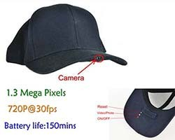 SPY Hat Camera DVR, 1.3 Mega Pixels, H.264, Card SD Max 32G, Long Life Life 150min (SPY056) - S $ 168