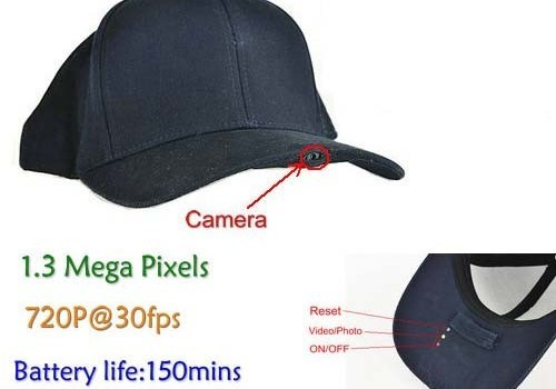 SPY Hat Camera DVR, 1.3 Mega Pixels, H.264, SD Card Max 32G, Long battery Life 150min - 1