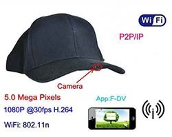 WIFI Hat Camera Video Recorder, 1080p, 5.0 Mega Pixels, H.264, P2PIP (SPY055)