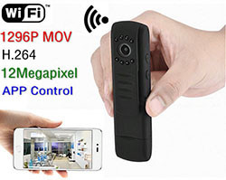 Seguridade Wearable portátil WIFI 12MP Camera, 1296P, H.264, control de aplicación (SPY084)