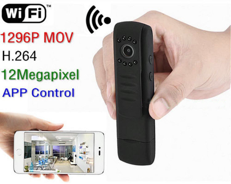 WiFi Hotspot Wearable Kaamanan 12MP kaméra, 1296P, H.264, kontrol App (SPY084)