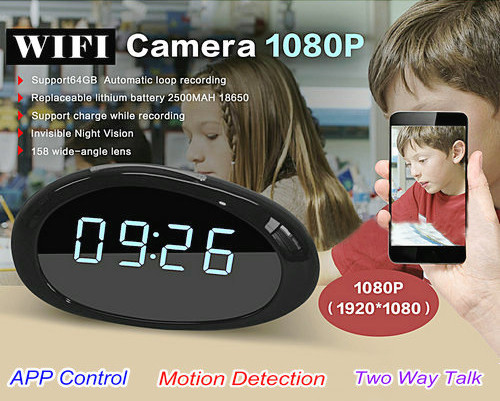 1080P WIFI Clock Camera, FHD 1080P, 158 degree wide-angle lens, H.264, Support 64G (SPY103)