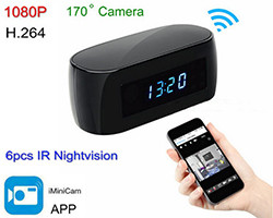 WIFI clock camera, 12MP, H.264 / 1080p, Uʻamea maualuga 170Deg (SPY101) - S $ 238