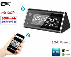 Aerial Detector WIFI Clock Camera, 5.0MP/1080P /H.264, Air Detection Sensor (SPY105)