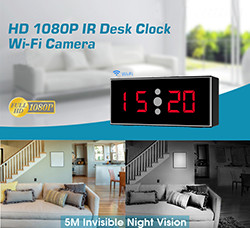 HD 1080P IR Desk Wifi Kamera Clock (SPY107) - S $ 268