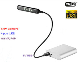 WIFI USB Lamp Camera DVR, 5.0M Camera / 1080p (SPY116) - S $ 198