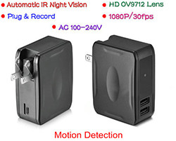 Wall Charger Camera DVR, 1080P, Plug & Record, automaattinen IR Night Vision (SPY112) - S $ 168