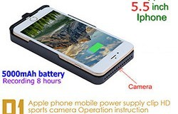 Iphone Power Case kamera, H.264 1080P, 5000mAh battery, TF 128G - 1 250px