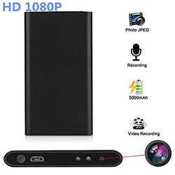 Ultra Thin HD 1080P Mobile Power Bank Spy Kamera Kamera e fshehur Vizion Night Spy (SPY119) - S $ 168