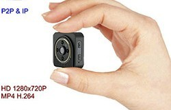 WIFI Mini Camera, Body Wearable Kameʻa, H.264, TF 64G - 1 250px