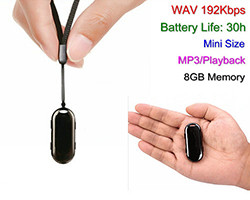 8GB Mini Pendant Voice Recorder, 30 Hrs Recording (SPY057V)