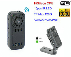 WIFI Mini Camera, HD1080P, Lafoaʻiga o Vaa, Card SD Max 128G (SPY155) - S $ 188