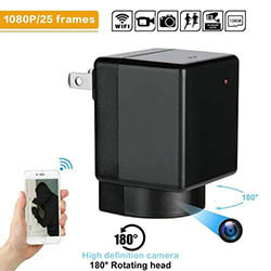 WIFI Charger Camera, Kamera 180 Degree Rotation, WIFI / P2P / IP, 1080P / H.264 (SPY165) - S $ 198
