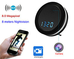 Night Mirror WIFI Clock Camera, Two Way Talk, Super Nightvision (SPY169)