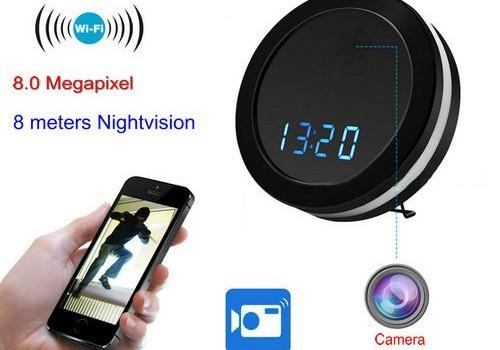 Night Mirror WIFI Clock Camera, Two Way Talk, Super Nightvision - 1